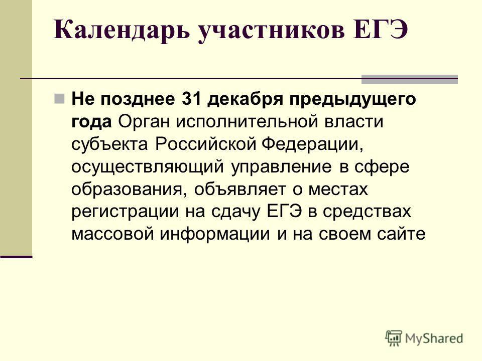 Календарь участников ЕГЭ Не позднее 31 декабря предыдущего года Орган исполнительной власти субъекта Российской Федерации, осуществляющий управление в сфере образования, объявляет о местах регистрации на сдачу ЕГЭ в средствах массовой информации и на