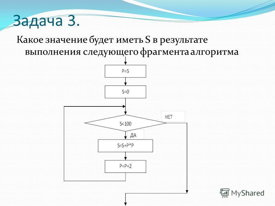 Задача 3. Какое значение будет иметь S в результате выполнения следующего фрагмента алгоритма