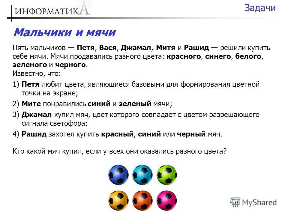 Мальчики и мячи Пять мальчиков Петя, Вася, Джамал, Митя и Рашид решили купить себе мячи. Мячи продавались разного цвета: красного, синего, белого, зеленого и черного. Известно, что: 1) Петя любит цвета, являющиеся базовыми для формирования цветной то