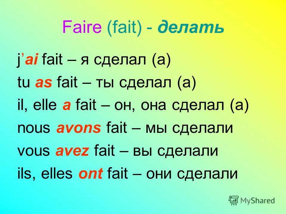 Passé composé (Прошедшее сложное время) avoir (иметь) или être (быть), взятых в настоящем времени + participe passé (причастие прошедшего времени) основного глагола