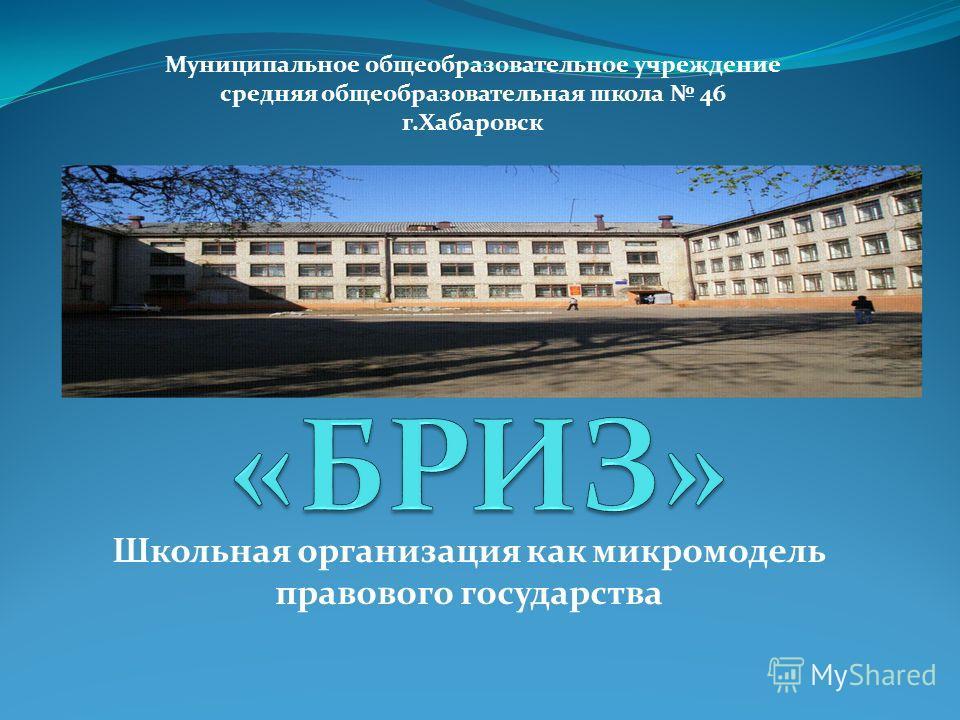 Школьная организация как микромодель правового государства Муниципальное общеобразовательное учреждение средняя общеобразовательная школа 46 г.Хабаровск