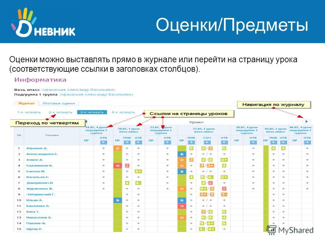 Оценки/Предметы Оценки можно выставлять прямо в журнале или перейти на страницу урока (соответствующие ссылки в заголовках столбцов).