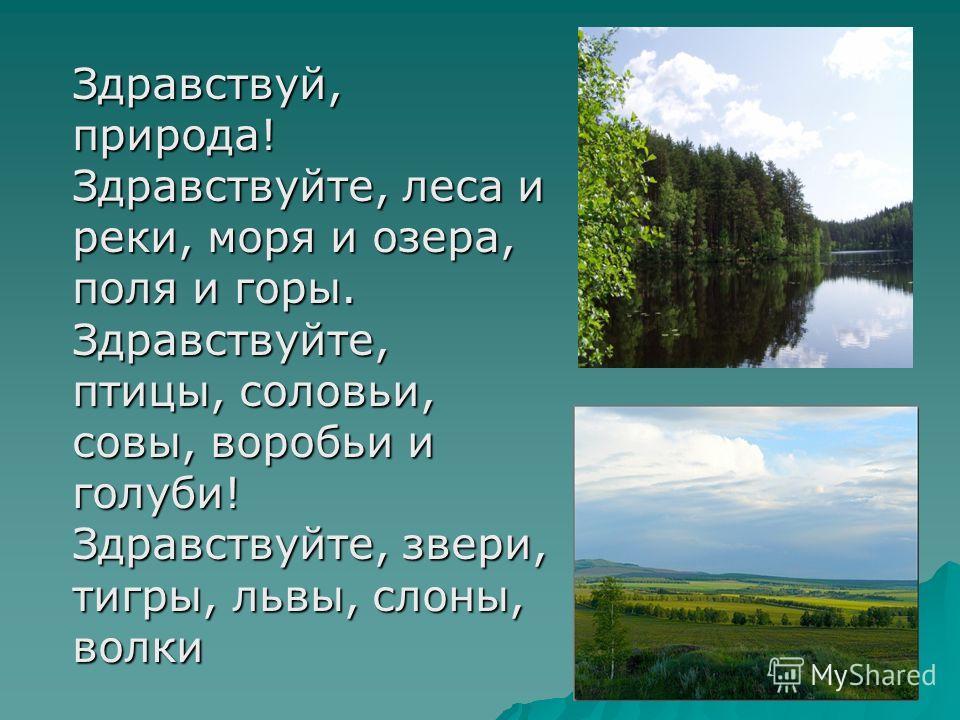Здравствуй, природа! Здравствуйте, леса и реки, моря и озера, поля и горы. Здравствуйте, птицы, соловьи, совы, воробьи и голуби! Здравствуйте, звери, тигры, львы, слоны, волки