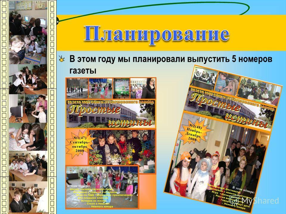В этом году мы планировали выпустить 5 номеров газеты 2(48) Ноябрь-Декабрь 2008 В этом номере: Театральный фестиваль Интервью с новыми учителями Игра «Дочки-матери» России верные сыны Говорят и пишут дети Немного юмора