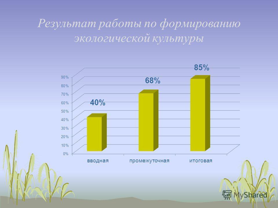 Результат работы по формированию экологической культуры