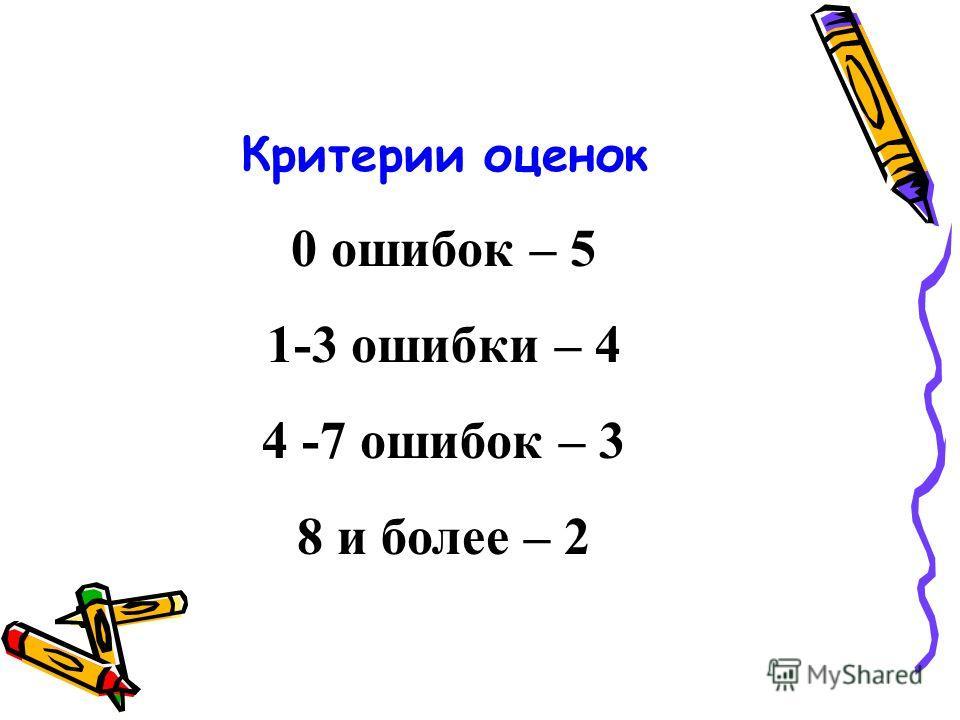 Критерии оценок 0 ошибок – 5 1-3 ошибки – 4 4 -7 ошибок – 3 8 и более – 2