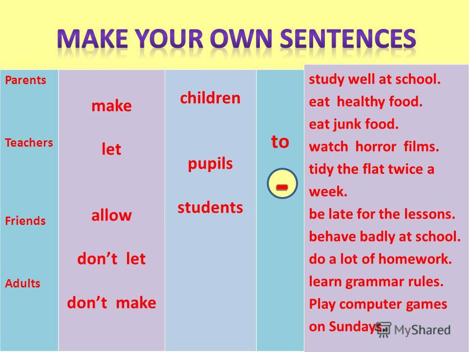 Parents Teachers Friends Adults make let allow dont let dont make children pupils students to study well at school. eat healthy food. eat junk food. watch horror films. tidy the flat twice a week. be late for the lessons. behave badly at school. do a
