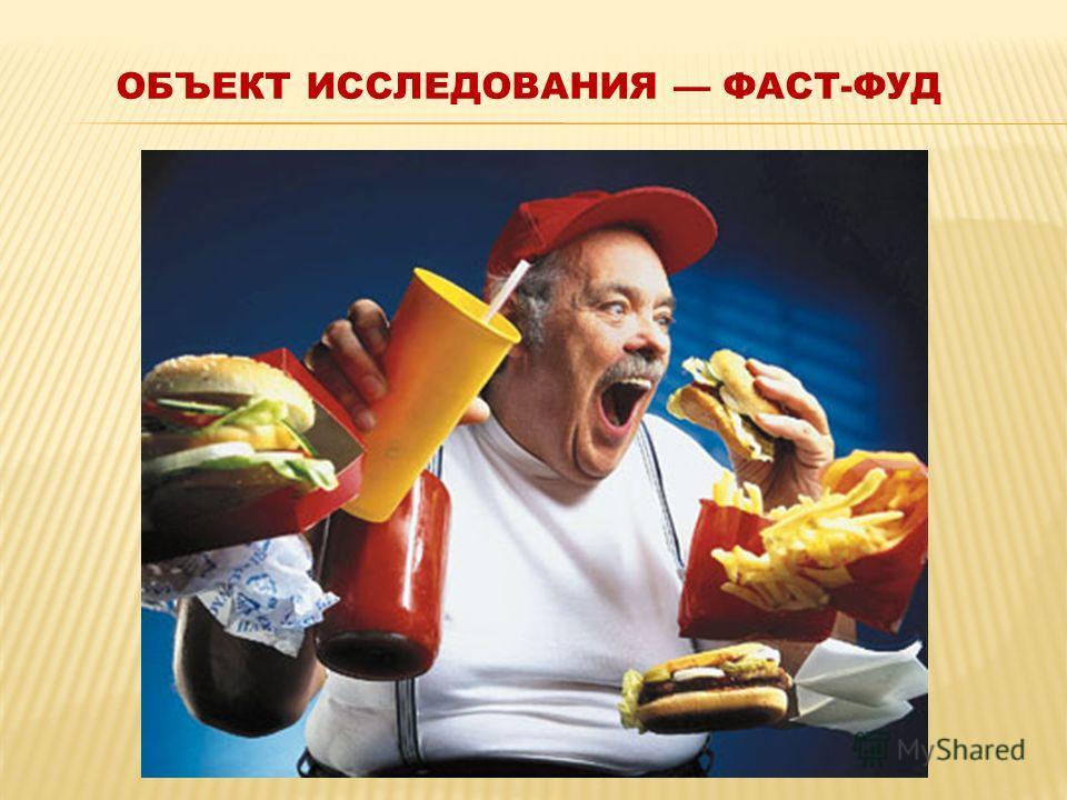ОБЪЕКТ ИССЛЕДОВАНИЯ ФАСТ-ФУД