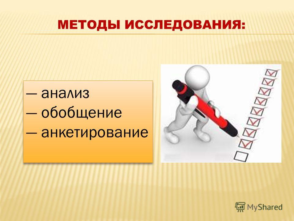 анализ обобщение анкетирование анализ обобщение анкетирование МЕТОДЫ ИССЛЕДОВАНИЯ: