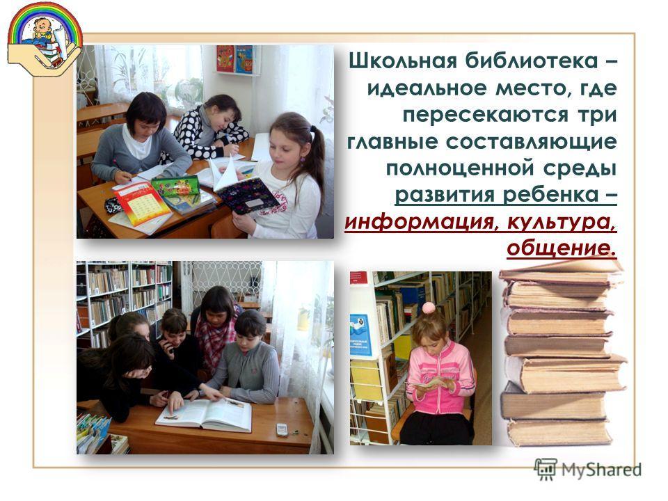 Школьная библиотека – идеальное место, где пересекаются три главные составляющие полноценной среды развития ребенка – информация, культура, общение.