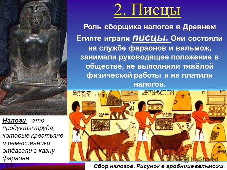 2. Писцы Сбор налогов. Рисунок в гробнице вельможи. Роль сборщика налогов в Древнем Египте играли писцы. Они состояли на службе фараонов и вельмож, занимали руководящее положение в обществе, не выполняли тяжёлой физической работы и не платили налогов