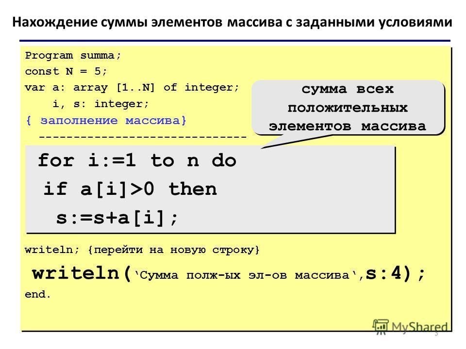 3 Нахождение суммы элементов массива с заданными условиями Program summa; const N = 5; var a: array [1..N] of integer; i, s: integer; { заполнение массива} ------------------------------ writeln; {перейти на новую строку} writeln(Сумма полж-ых эл-ов