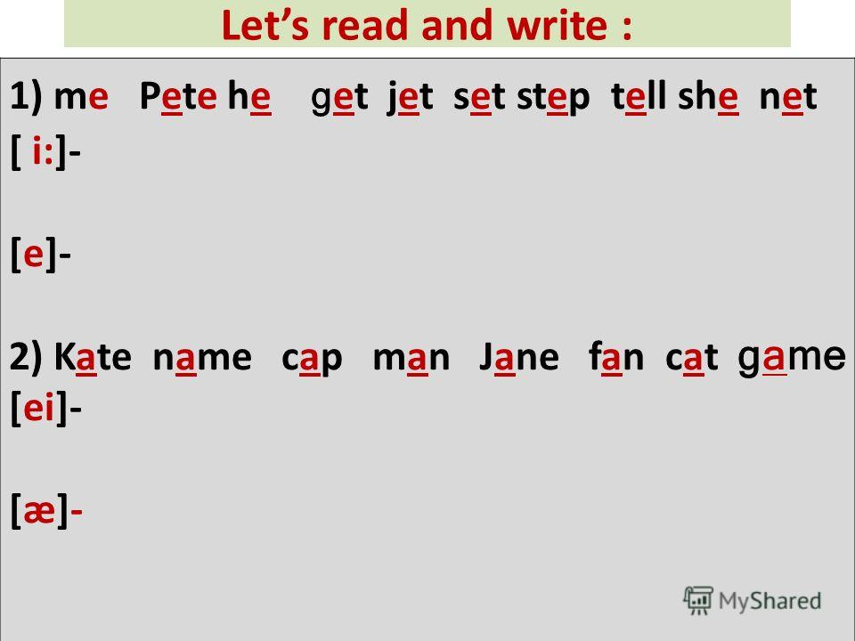 Lets read and write : 1) me Pete he g et jet set step tell she net [ i:]- [e]- 2) Kate name cap man Jane fan cat game [ei]- [æ]-