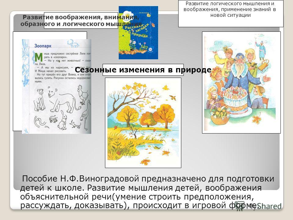 Пособие Н.Ф.Виноградовой предназначено для подготовки детей к школе. Развитие мышления детей, воображения объяснительной речи(умение строить предположения, рассуждать, доказывать), происходит в игровой форме. Развитие воображения, внимания, образного