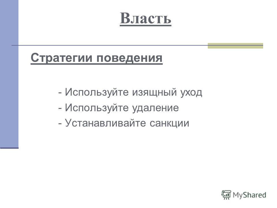 Власть Стратегии поведения - Используйте изящный уход - Используйте удаление - Устанавливайте санкции