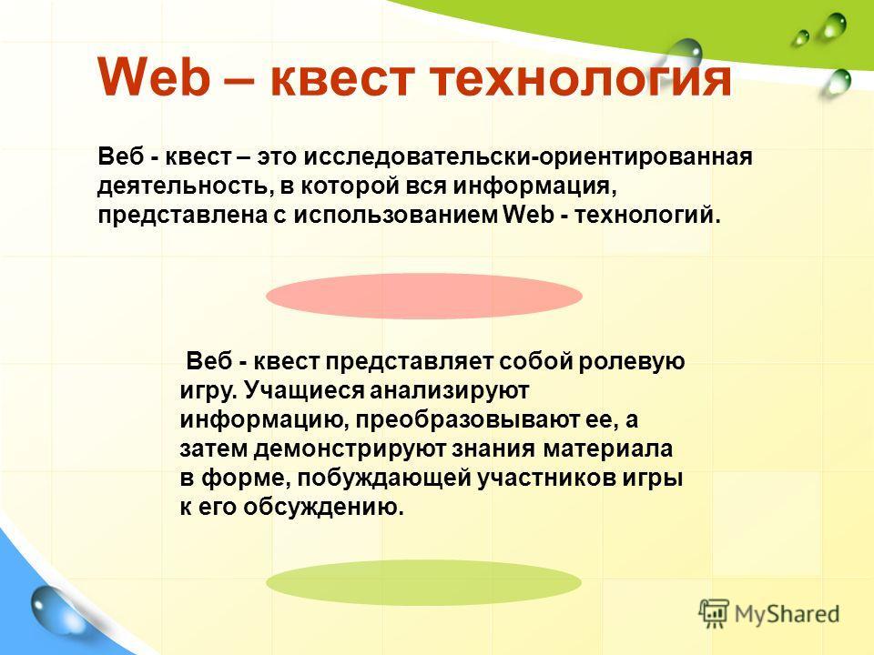 Web – квест технология Веб - квест – это исследовательски-ориентированная деятельность, в которой вся информация, представлена с использованием Web - технологий. Веб - квест представляет собой ролевую игру. Учащиеся анализируют информацию, преобразов
