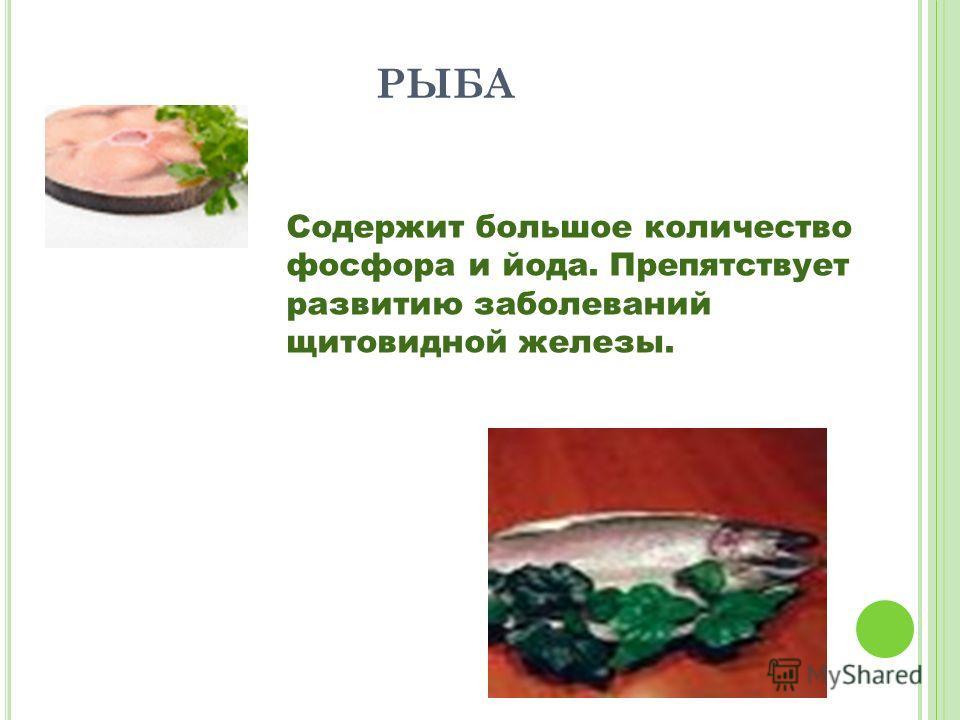 РЫБА Содержит большое количество фосфора и йода. Препятствует развитию заболеваний щитовидной железы.