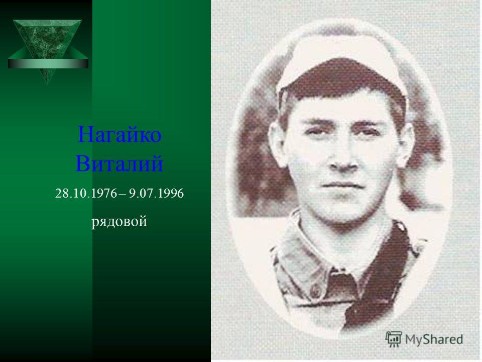 Нагайко Виталий 28.10.1976 – 9.07.1996 рядовой