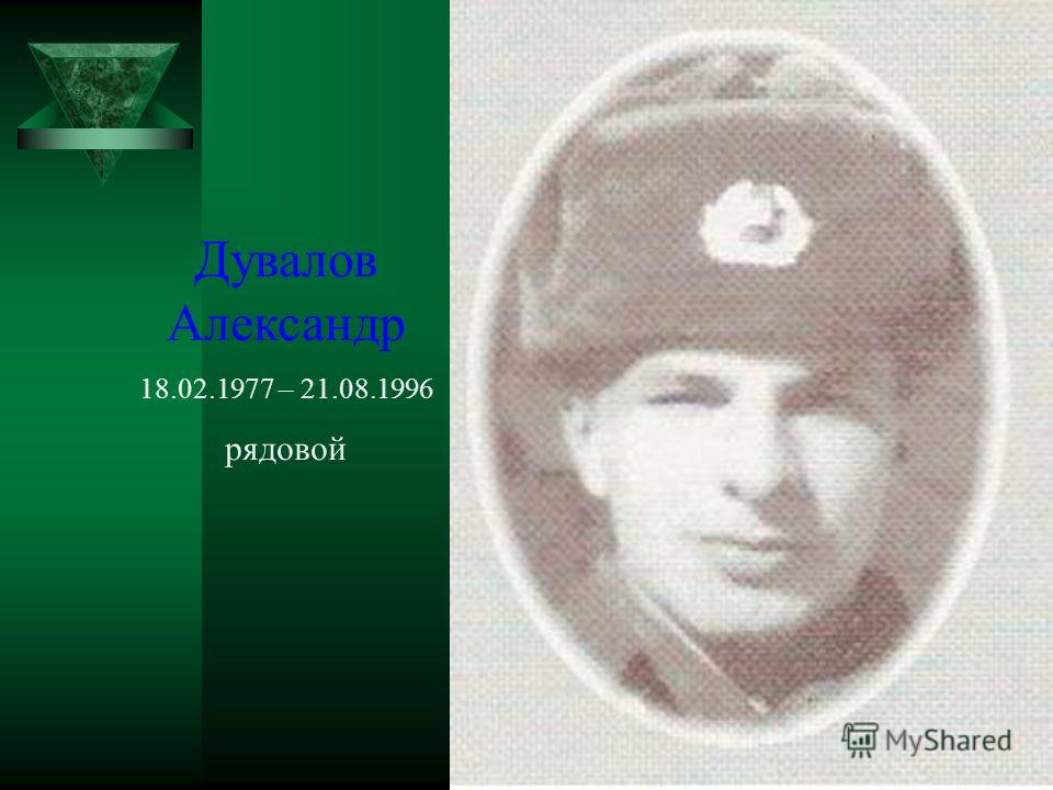 Дувалов Александр 18.02.1977 – 21.08.1996 рядовой