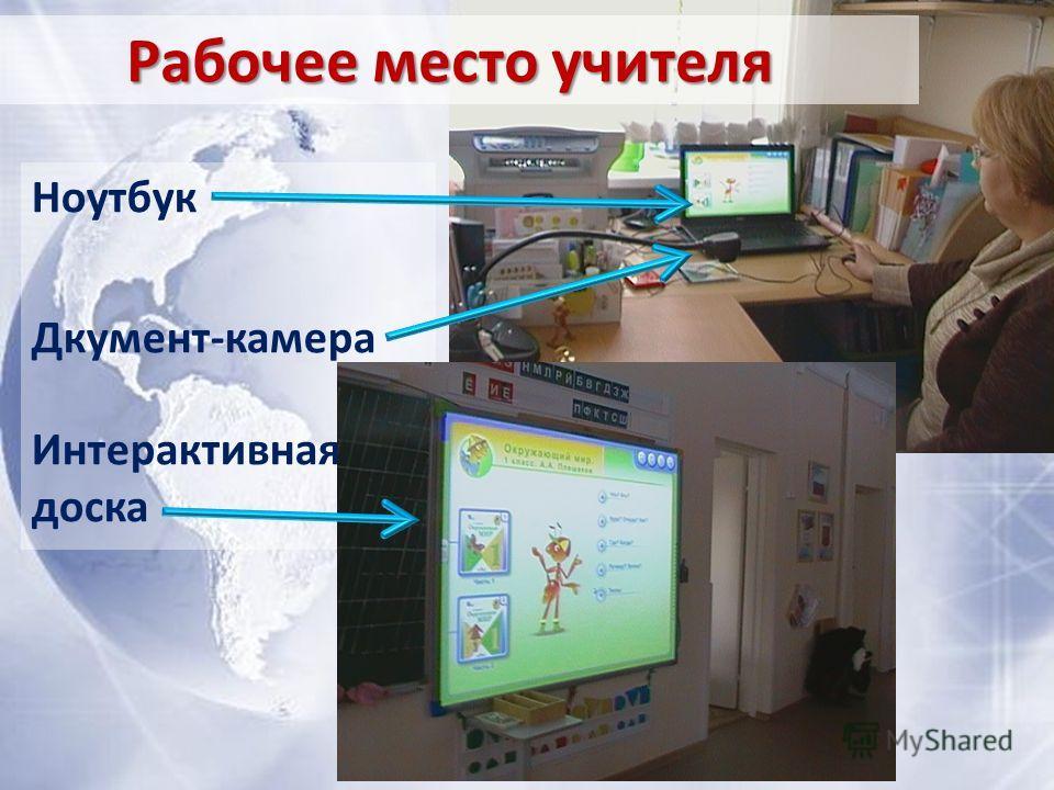 Рабочее место учителя Ноутбук Дкумент-камера Интерактивная доска