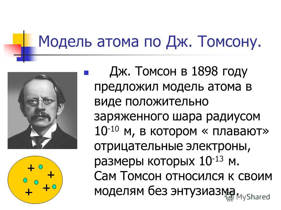 Модель атома по Дж. Томсону. Дж. Томсон в 1898 году предложил модель атома в виде положительно заряженного шара радиусом 10 -10 м, в котором « плавают» отрицательные электроны, размеры которых 10 -13 м. Сам Томсон относился к своим моделям без энтузи