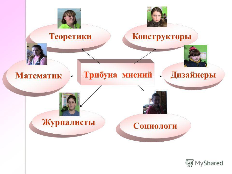 Трибуна мнений Математик ТеоретикиКонструкторы Журналисты Социологи Дизайнеры