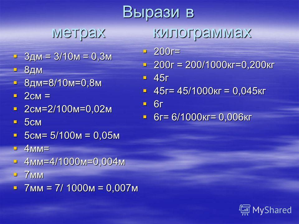 Вырази в метрах килограммах Вырази в метрах килограммах 3дм = 3/10м = 0,3м 3дм = 3/10м = 0,3м 8дм 8дм 8дм=8/10м=0,8м 8дм=8/10м=0,8м 2см = 2см = 2см=2/100м=0,02м 2см=2/100м=0,02м 5см 5см 5см= 5/100м = 0,05м 5см= 5/100м = 0,05м 4мм= 4мм= 4мм=4/1000м=0,