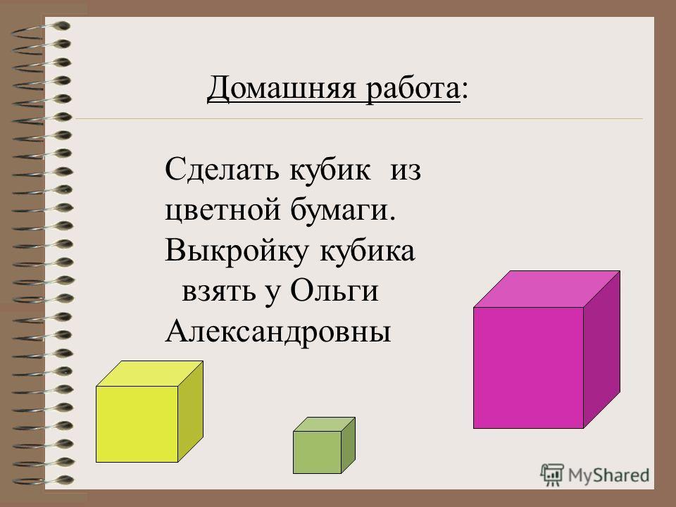 ТАБЛИЦА 3 Я Домашняя работа: Сделать кубик из цветной бумаги. Выкройку кубика взять у Ольги Александровны