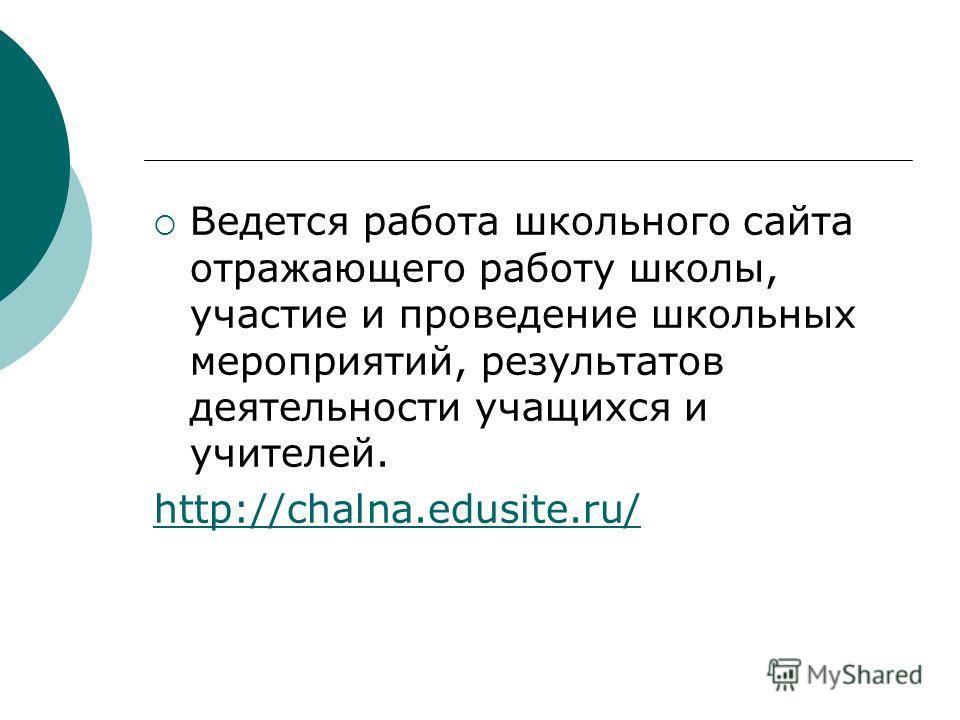Ведется работа школьного сайта отражающего работу школы, участие и проведение школьных мероприятий, результатов деятельности учащихся и учителей. http://chalna.edusite.ru/