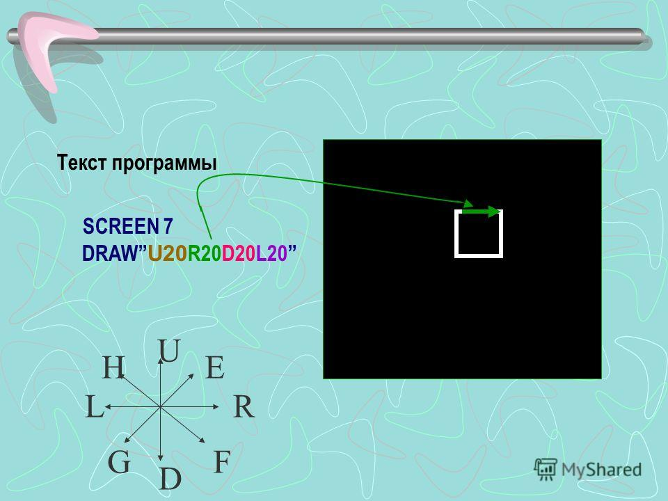 Текст программы SCREEN 7 DRAW U20 R20D20L20 U D RL EH GF