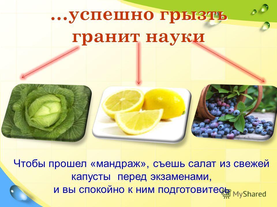 …успешно грызть гранит науки Чтобы прошел «мандраж», съешь салат из свежей капусты перед экзаменами, и вы спокойно к ним подготовитесь