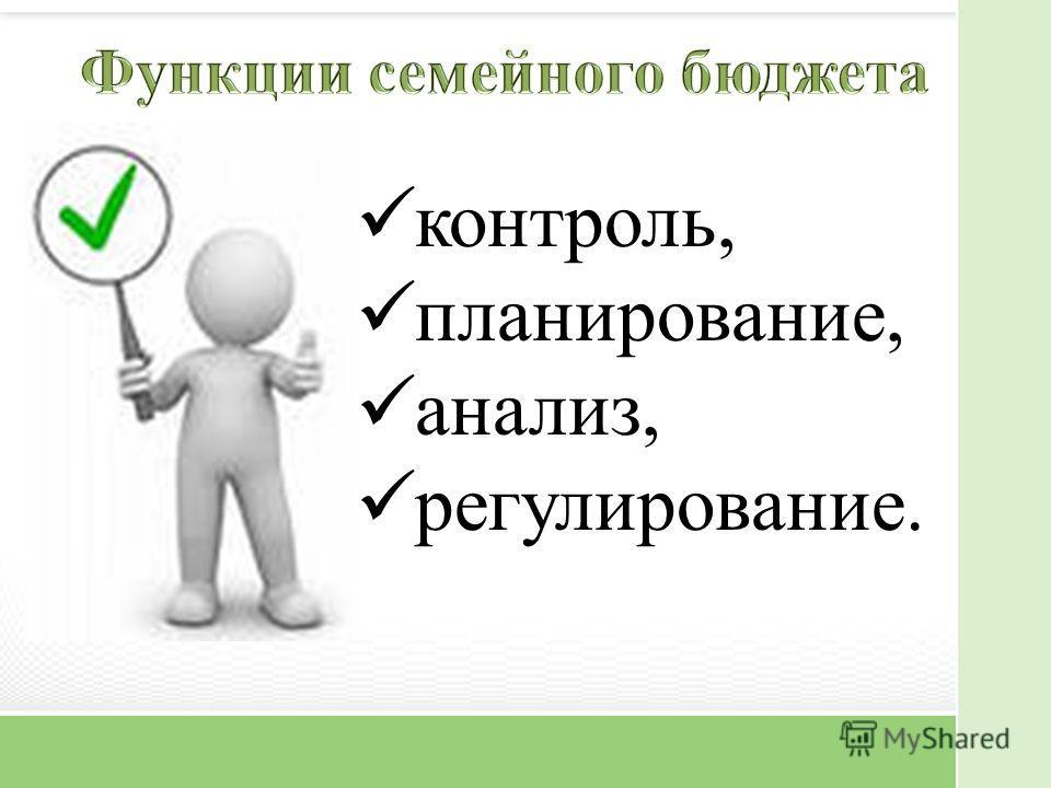 контроль, планирование, анализ, регулирование.