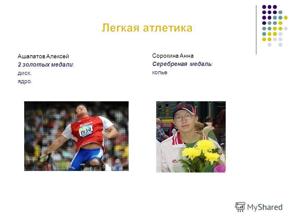 Ашапатов Алексей 2 золотых медали: диск, ядро. Сорокина Анна Серебреная медаль: копье