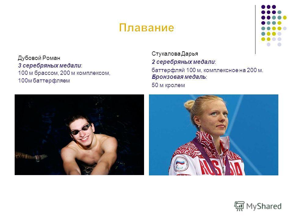 Дубовой Роман 3 серебряных медали: 100 м брассом, 200 м комплексом, 100м баттерфляем Стукалова Дарья 2 серебряных медали: баттерфляй 100 м, комплексное на 200 м. Бронзовая медаль: 50 м кролем