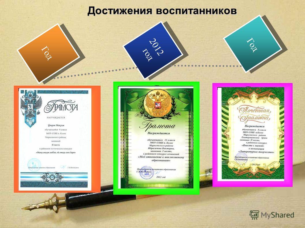 2012 год 2012 год Год Достижения воспитанников Текст