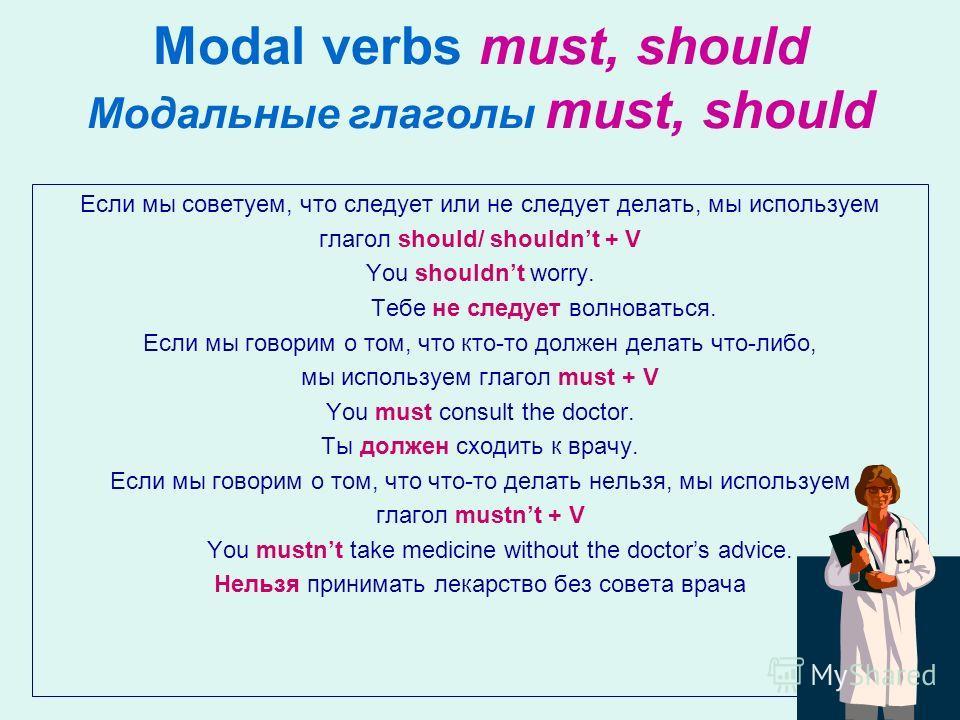 Modal verbs must, should Модальные глаголы must, should Если мы советуем, что следует или не следует делать, мы используем глагол should/ shouldnt + V You shouldnt worry. Тебе не следует волноваться. Если мы говорим о том, что кто-то должен делать чт