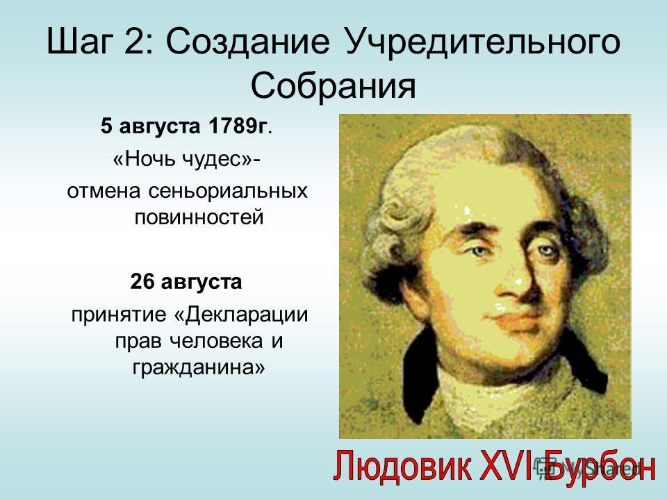 Шаг 2: Создание Учредительного Собрания 5 августа 1789г. «Ночь чудес»- отмена сеньориальных повинностей 26 августа принятие «Декларации прав человека и гражданина»