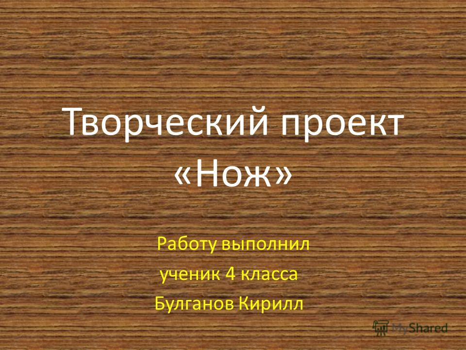 Творческий проект «Нож» Работу выполнил ученик 4 класса Булганов Кирилл