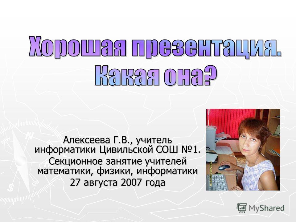 Алексеева Г.В., учитель информатики Цивильской СОШ 1. Секционное занятие учителей математики, физики, информатики 27 августа 2007 года