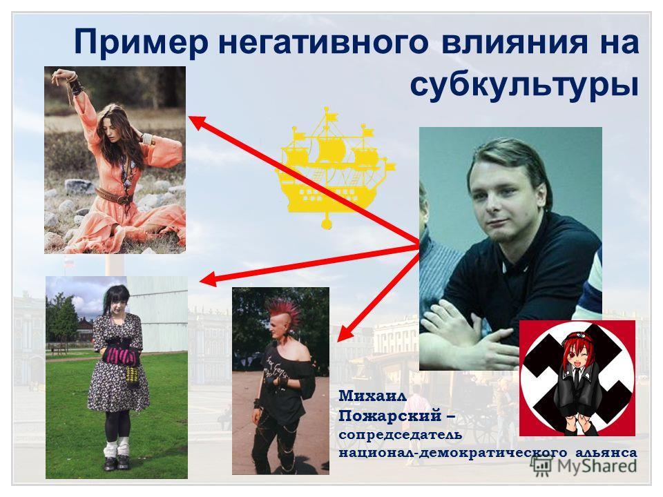 Пример негативного влияния на субкультуры Михаил Пожарский – сопредседатель национал-демократического альянса