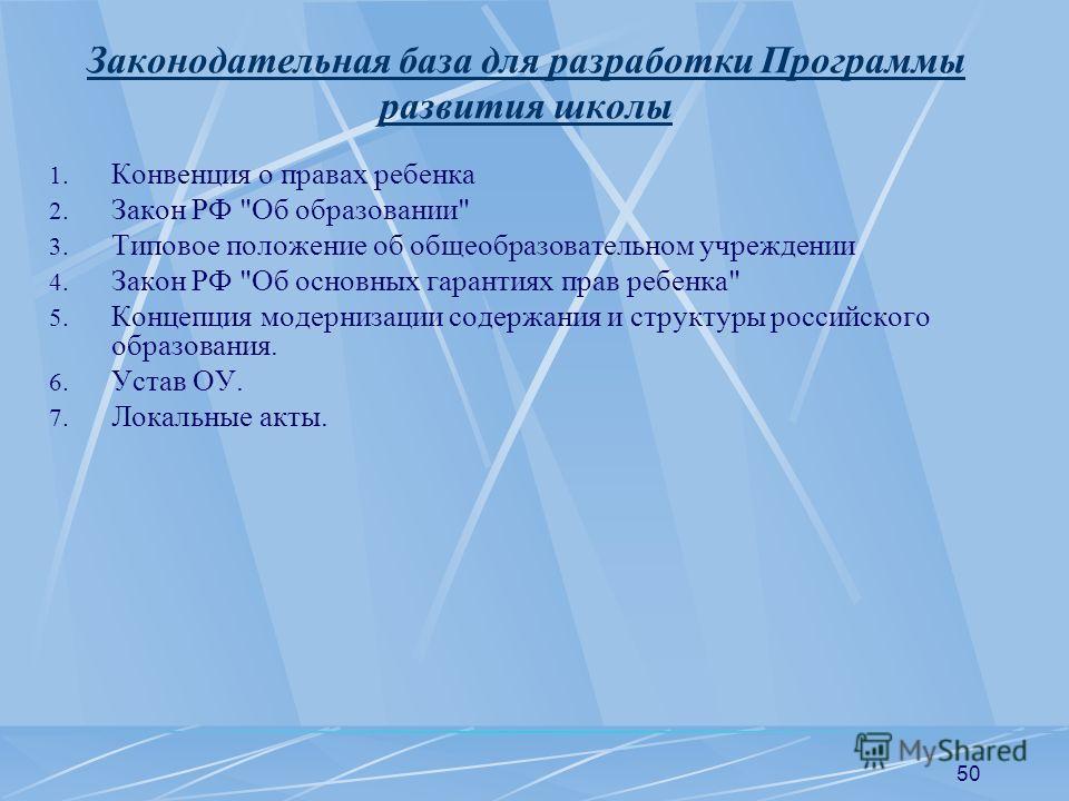 50 Законодательная база для разработки Программы развития школы 1. Конвенция о правах ребенка 2. Закон РФ