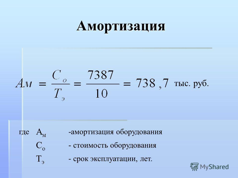 Амортизация тыс. руб. где АмАм -амортизация оборудования СоСо - стоимость оборудования ТэТэ - срок эксплуатации, лет.