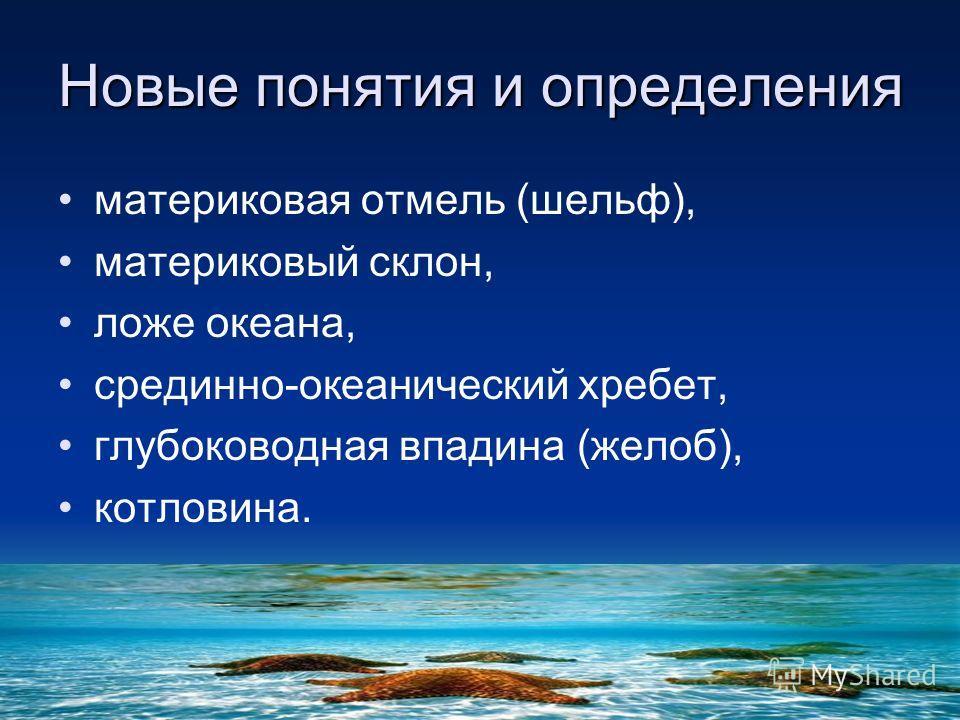 материковая отмель (шельф), материковый склон, ложе океана, срединно-океанический хребет, глубоководная впадина (желоб), котловина. Новые понятия и определения