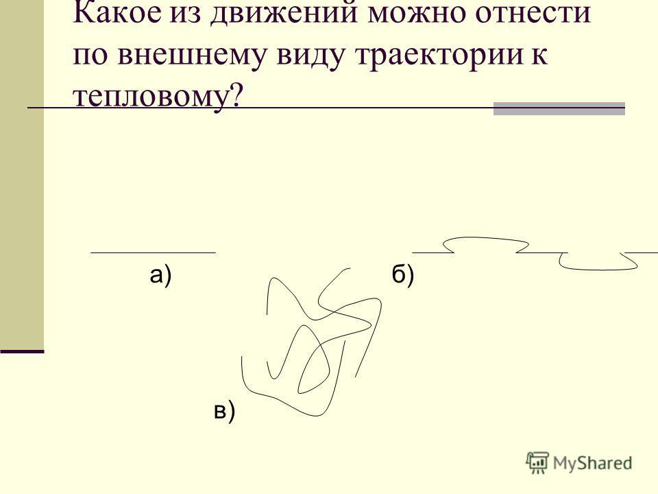 Какое из движений можно отнести по внешнему виду траектории к тепловому? а) б) в)