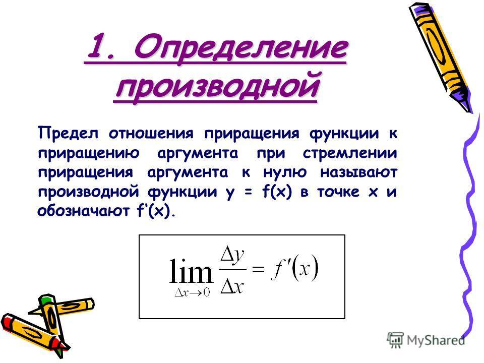 1. Определение производной Предел отношения приращения функции к приращению аргумента при стремлении приращения аргумента к нулю называют производной функции y = f(x) в точке х и обозначают f(x).
