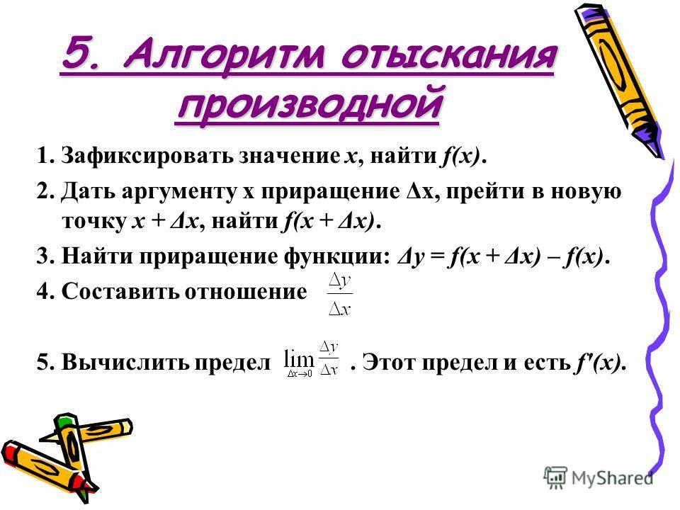 5. Алгоритм отыскания производной 1. Зафиксировать значение х, найти f(x). 2. Дать аргументу х приращение Δх, прейти в новую точку х + Δх, найти f(x + Δх). 3. Найти приращение функции: Δy = f(x + Δх) – f(x). 4. Составить отношение 5. Вычислить предел