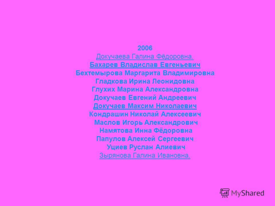 2006 Докучаева Галина Фёдоровна. Бахарев Владислав Евгеньевич Бехтемырова Маргарита Владимировна Гладкова Ирина Леонидовна Глухих Марина Александровна Докучаев Евгений Андреевич Докучаев Максим Николаевич Кондрашин Николай Алексеевич Маслов Игорь Але