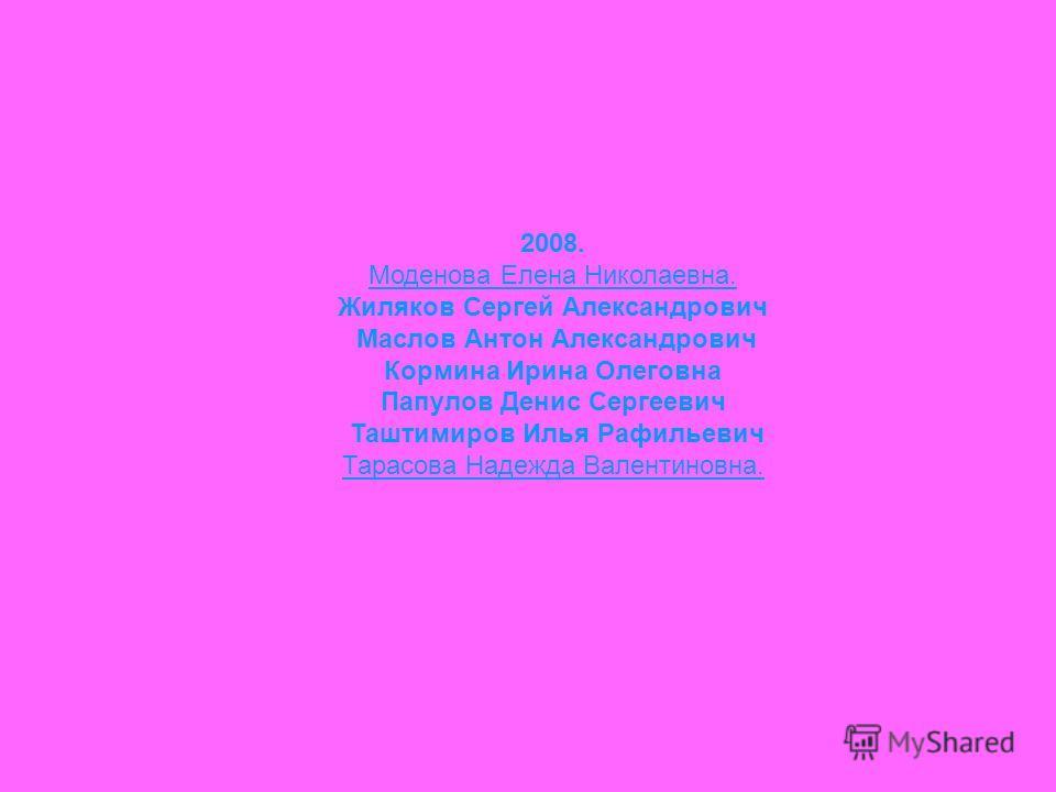 2008. Моденова Елена Николаевна. Жиляков Сергей Александрович Маслов Антон Александрович Кормина Ирина Олеговна Папулов Денис Сергеевич Таштимиров Илья Рафильевич Тарасова Надежда Валентиновна.