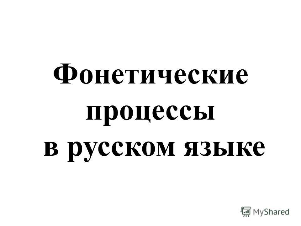Фонетические процессы в русском языке