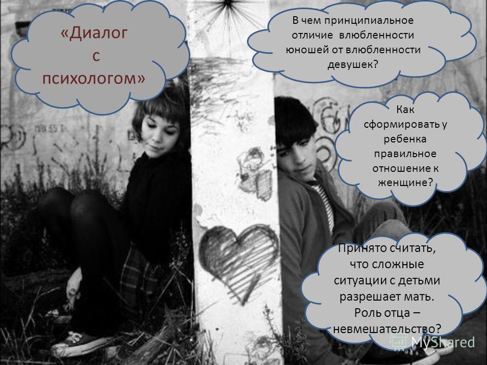 «Диалог с психологом» В чем принципиальное отличие влюбленности юношей от влюбленности девушек? Как сформировать у ребенка правильное отношение к женщине? Принято считать, что сложные ситуации с детьми разрешает мать. Роль отца – невмешательство?